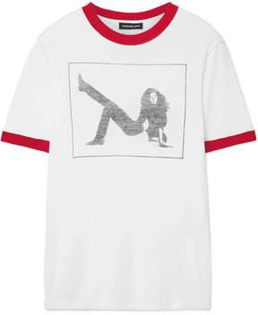 Calvin Klein Printed Slub Cotton-jersey T-shirt - White