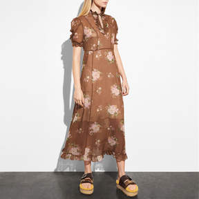 COACH UNDERPINNING DRESS - BROWN MULTICOLOR