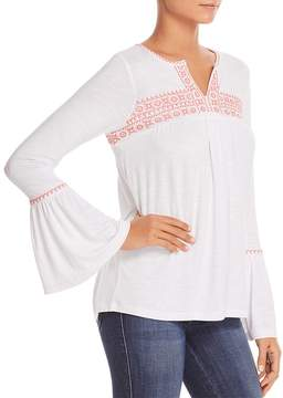 Design History Embroidered Bell-Sleeve Top