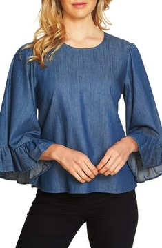 CeCe Women's Denim Ruffle Cuff Top