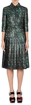 Prada Women's Floral Metallic Jacquard Shirtdress