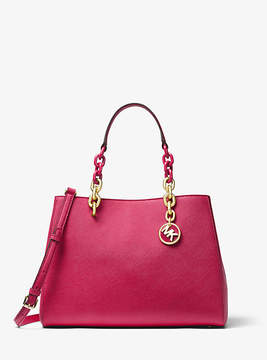 Michael Kors Cynthia Saffiano Leather Satchel - RED - STYLE