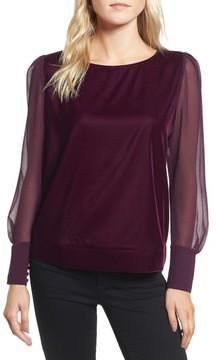 Chelsea28 Women's Sheer Sleeve Velvet Top