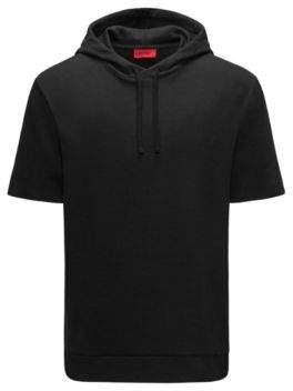 HUGO Boss Cotton Blend Short-Sleeve Hoodie Drib M Black