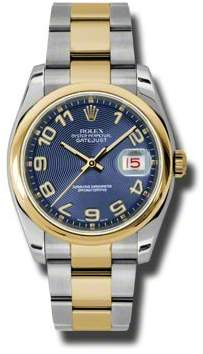 Rolex Datejust 36 Blue Concentric Dial Stainless Steel and 18K Yellow Gold Oyster Bracelet Automatic Men's Watch