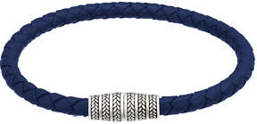 Jan Leslie Men's Braided Leather Magnetic Bracelet, Royal Blue