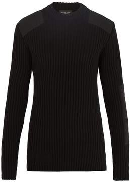 Calvin Klein Patch-detail ribbed-knit cotton-blend sweater
