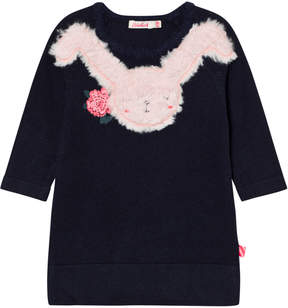 Billieblush Navy Knitted Dress with Faux Fur Bunny Applique