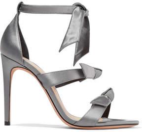 Alexandre Birman Mary Bow-embellished Satin Sandals - Gray