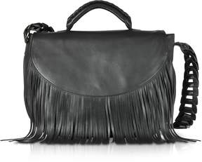 RED Valentino Black Fringed Leather Shoulder Bag