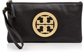 Tory Burch Charlie Leather Clutch - BLACK/GOLD - STYLE