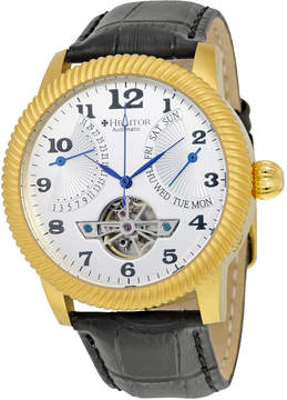 Heritor Piccard Automatic White Dial Black Leather Men's Watch