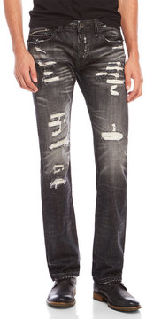 Cult of Individuality Rebel Straight Fit Distressed Zipper Jeans