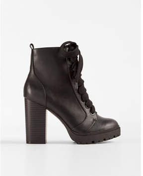 Express lace-up heeled lug booties