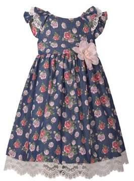Iris & Ivy Little Girl's Floral Denim Dress
