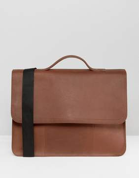 Asos Leather Satchel In Brown With Line Detail