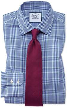 Charles Tyrwhitt Slim Fit Prince Of Wales Check Blue and Green Cotton Dress Shirt Single Cuff Size 14.5/33