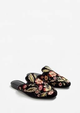 MANGO Embroidered velvet loafers
