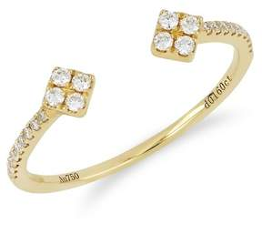 Bony Levy 18K Yellow Gold Pave Diamond Detail Diamond Ended Open Cuff Ring - 0.16 ctw