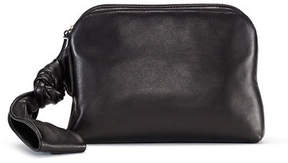 The Row Zip-Top Leather Wristlet Bag
