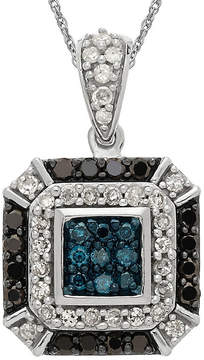 Black Diamond FINE JEWELRY 1/2 CT. T.W. White and Color-Enhanced Blue and Pendant Necklace