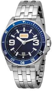 Just Cavalli Mens Stainless Steel Watch With Dark Blue Dial.