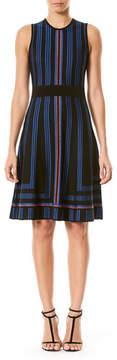 Carolina Herrera Geometric Metallic-Stripe Sweaterdress, Blue/Black