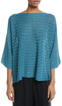 eskandar Hand-Loomed Lightweight Linen 3/4-Sleeve Top