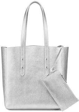 Aspinal of London Essential Tote In Silver Saffiano Navy Suede
