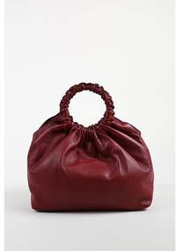 The Row Pre-owned Red Leather Medium Ruched Ring Handle double Circle Tote Bag.
