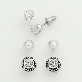 Ball Silver Tone Cubic Zirconia and Stud Earring Set