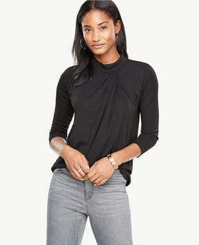 Ann Taylor Draped Mock Neck Top