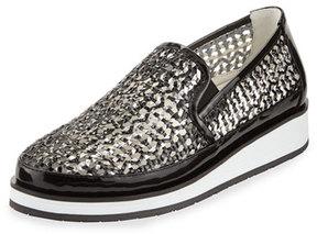Donald J Pliner Maze Woven Leather Slip-On Sneaker, Black/Pewter
