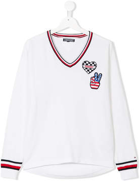 Tommy Hilfiger Junior TEEN iconic badge V-neck sweater