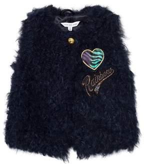 Little Marc Jacobs Navy Faux Fur and Sequin Gilet