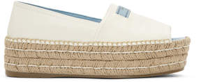Prada White Leather Platform Espadrilles