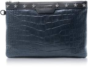 Jimmy Choo Navy Blue Croco Embossed Leather Derek Medium Clutch