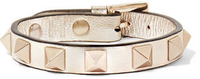 Valentino Rockstud Metallic Leather Bracelet - Silver