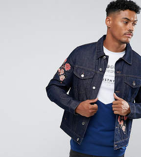 Hype Denim Jacket In Blue With Floral Embroidery