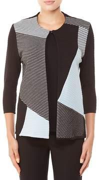 Allison Daley 3/4 Sleeve Colorblock Stripe Hook Fastening Cardigan