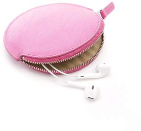 Royce Leather Royce Bright Pink Leather Circular Earbud Travel Case