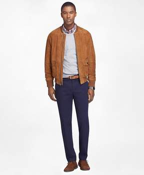 Brooks Brothers Brown Suede Bomber Jacket