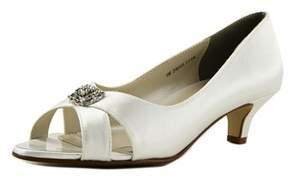 Touch Ups Dot Women Peep-toe Canvas White Heels.