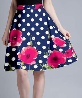 Lily Blue & Pink Poppies Polka Dot A-Line Skirt - Women & Plus