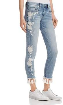 Blank NYC BLANKNYC Embroidered Tassel-Hem Skinny Jeans in Blue - 100% Exclusive