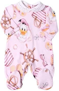 MonnaLisa Donald Duck Print Cotton Jersey Romper