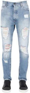 Palm Angels Regular Fit Ripped Cotton Denim Jeans
