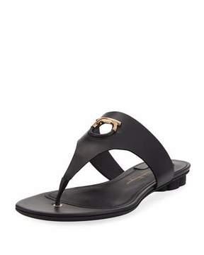 Salvatore Ferragamo Enfola Leather Thong Sandal with Cutout Logo