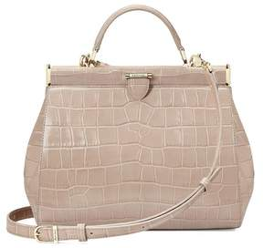 Aspinal of London Small Florence Frame Bag In Deep Shine Soft Taupe Croc