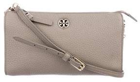 Tory Burch Grained Leather Zip Crossbody Bag - GREY - STYLE